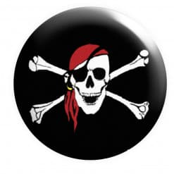 Pirate Badge Red Bandana, Skull Crossbones,