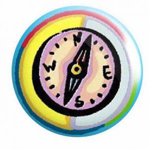 Compass Button Pin Badge