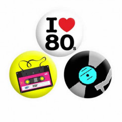 Music 80s Button Pin Badges