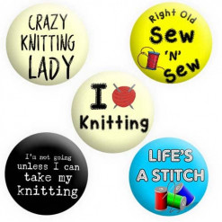 Knitting Badges, Sewing Badges, Button Pin Badges