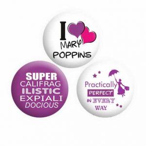 Mary Poppins Button Pin Badges