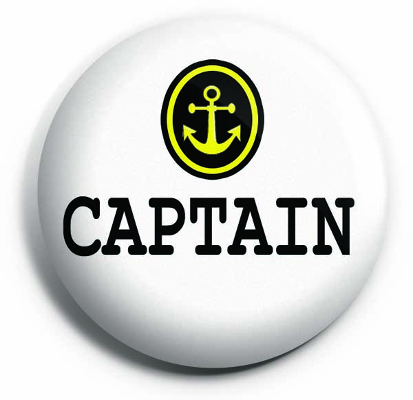Captain Button Pin Badge