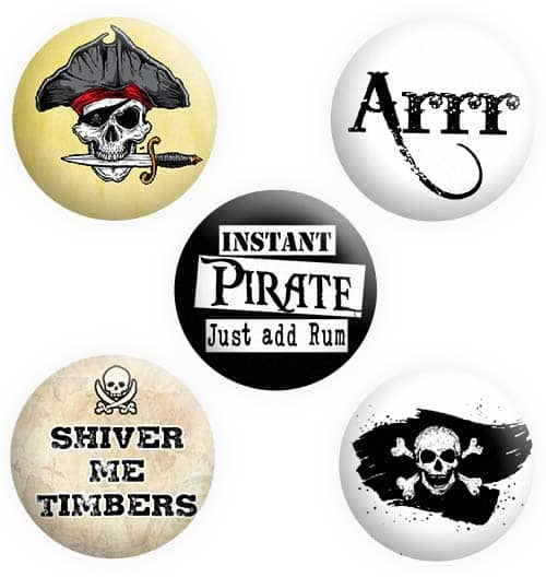 Pirate Badges, Button, Pin, Badge