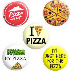 Pizza Badge Collection, Buttons, Pins, Badges