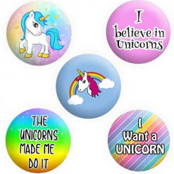 Unicorn Badge Buttons, Pins, Badges