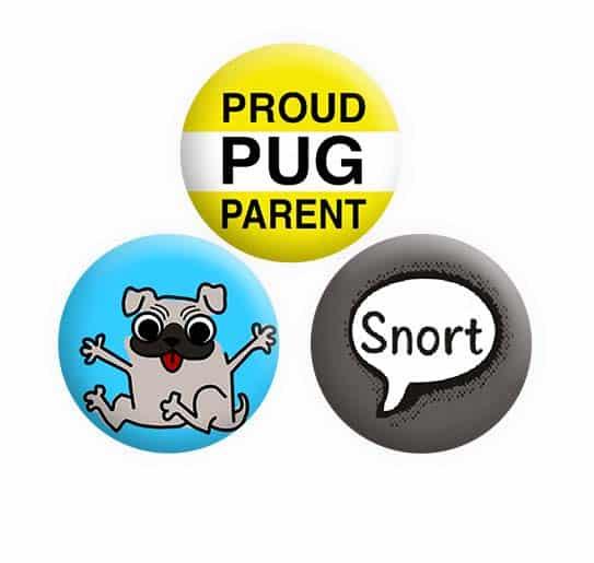 Pug Button Pin Badges