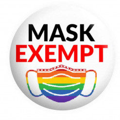 Face Mask Exempt Badge, Rainbow Mask exempt badge, Button pin badges