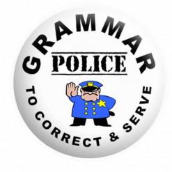 Grammar Police Badge Button Pin Badges