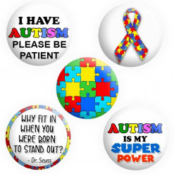 Autism Badges, Autistic Badges, Button Pin Badges
