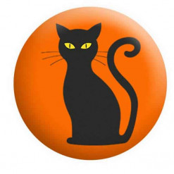 Halloween Badges, Black Cat Badge