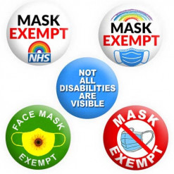 Face Mask Exempt Badges, Hidden Disability Badges, Button Pin Badge