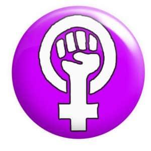 Feminist Fist Badge Pink purple