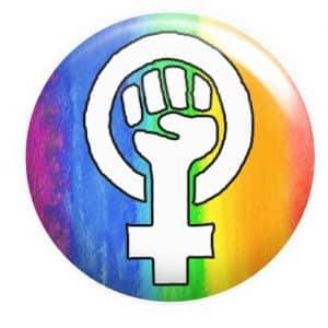 Feminist Fist Badge Rainbow