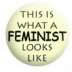This is what a feminist looks like badge - White, Feminist badges