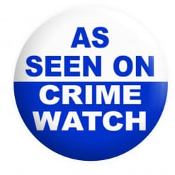 As seen on Crime watch Badge, funny badges